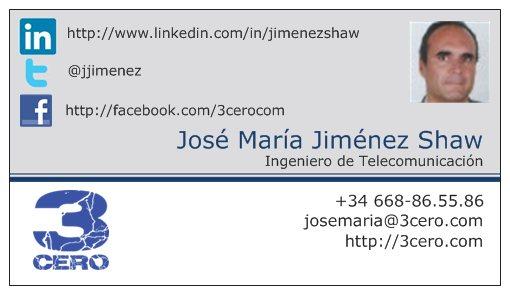 Tarjeta visita José María Jiménez Shaw